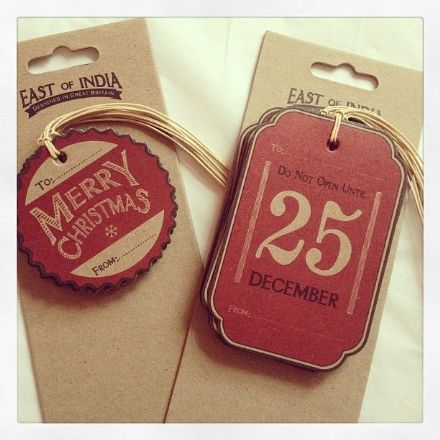 East Of India Vintage Set Of Christmas Tags- Do not open & Merry Christmas